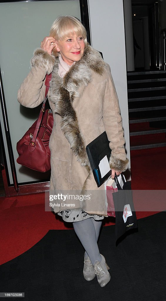 Dame <a gi-track='captionPersonalityLinkClicked' href=/galleries/search?phrase=Helen+Mirren&family=editorial&specificpeople=201576 ng-click='$event.stopPropagation()'>Helen Mirren</a> Leaving BIF Southbank sighting on January 18, 2013 in London, England.