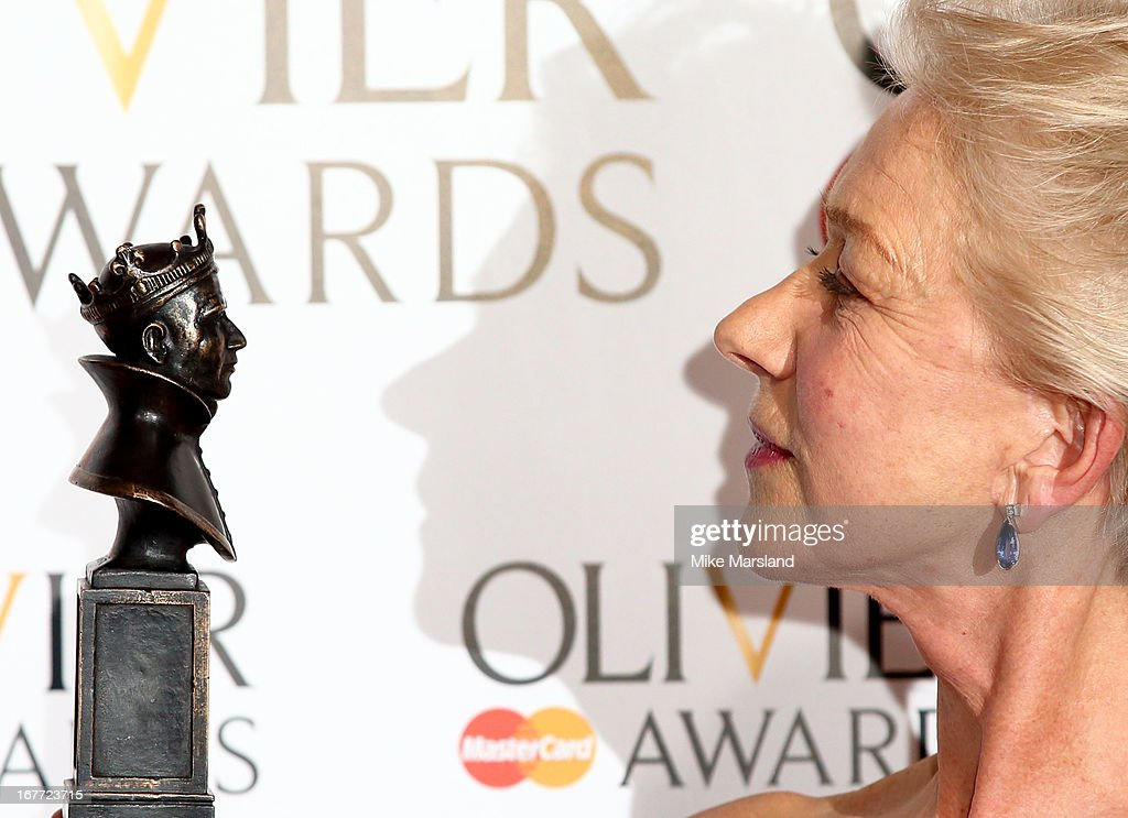 Dame <a gi-track='captionPersonalityLinkClicked' href=/galleries/search?phrase=Helen+Mirren&family=editorial&specificpeople=201576 ng-click='$event.stopPropagation()'>Helen Mirren</a> poses in the press room at The Laurence Olivier Awards at The Royal Opera House on April 28, 2013 in London, England.