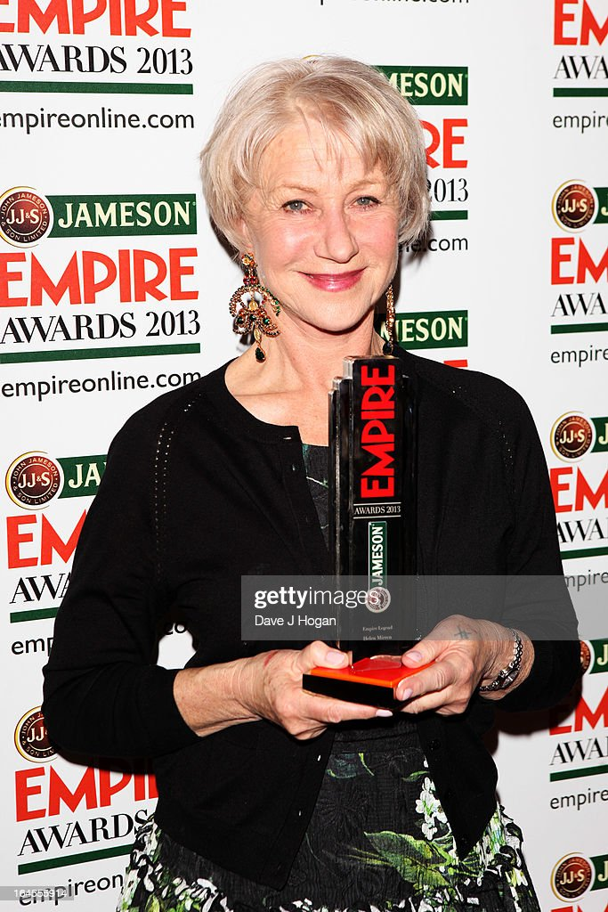 Dame <a gi-track='captionPersonalityLinkClicked' href=/galleries/search?phrase=Helen+Mirren&family=editorial&specificpeople=201576 ng-click='$event.stopPropagation()'>Helen Mirren</a> poses with her Empire Legend Award in the press room at the Jameson Empire Awards 2013 at Grosvenor House Hotel on March 24, 2013 in London, England.