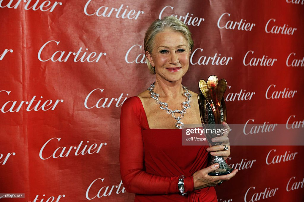 Dame Helen Mirren poses with the International Star Award at the 24th annual Palm Springs International Film Festival Awards Gala at the Palm Springs Convention Center on January 5, 2013 in Palm Springs, California.