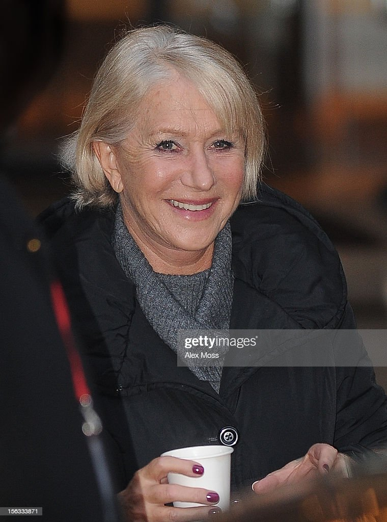 Dame <a gi-track='captionPersonalityLinkClicked' href=/galleries/search?phrase=Helen+Mirren&family=editorial&specificpeople=201576 ng-click='$event.stopPropagation()'>Helen Mirren</a> seen leaving the film set of 'Red 2' at the Langham Hotel on November 13, 2012 in London, England.
