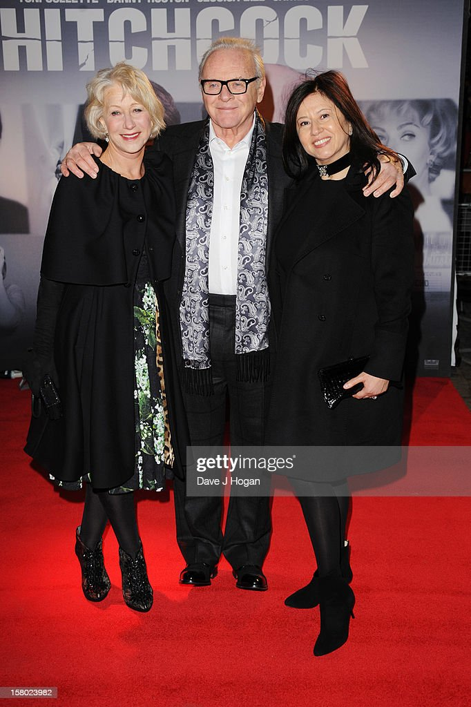Dame Helen Mirren Sir Anthony Hopkins and Stella Arroyave attend the UK premiere of Hitchcock at The BFI Southbank on December 9 2012 in London...