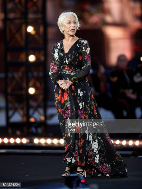 Dame Helen Mirren speaks on stage during an event that told the story of the four years of war on the Salient during commemorations marking the...