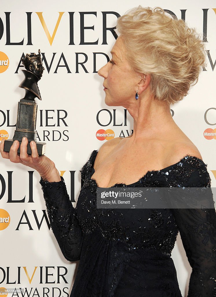 Dame <a gi-track='captionPersonalityLinkClicked' href=/galleries/search?phrase=Helen+Mirren&family=editorial&specificpeople=201576 ng-click='$event.stopPropagation()'>Helen Mirren</a>, winner of Best Actress, poses in the press room at The Laurence Olivier Awards 2013 at The Royal Opera House on April 28, 2013 in London, England.