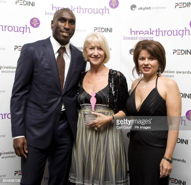 Dame Helen Mirren with award presenters footballer Sol Campbell and designer Veni Infantino after the 2008 Inspiration Awards for Women ceremony...