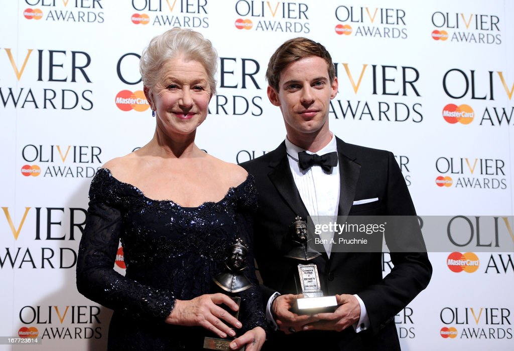 Dame Helen Mirren with her Best Actress award and Luke Treadaway with his Best Actor award during The Laurence Olivier Awards at the Royal Opera...