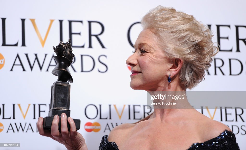 Dame <a gi-track='captionPersonalityLinkClicked' href=/galleries/search?phrase=Helen+Mirren&family=editorial&specificpeople=201576 ng-click='$event.stopPropagation()'>Helen Mirren</a> with her Best Actress award during The Laurence Olivier Awards at the Royal Opera House on April 28, 2013 in London, England.