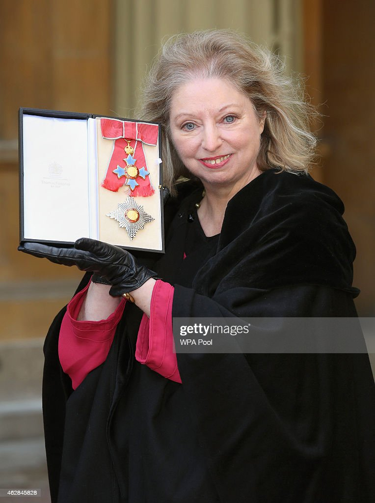 Dame <a gi-track='captionPersonalityLinkClicked' href=/galleries/search?phrase=Hilary+Mantel&family=editorial&specificpeople=590045 ng-click='$event.stopPropagation()'>Hilary Mantel</a> holds her Dame Commander of the British Empire medal presented to her by the Prince of Wales for services to literature at an Investiture ceremony at Buckingham Palace on February 6, 2015 in London, England.