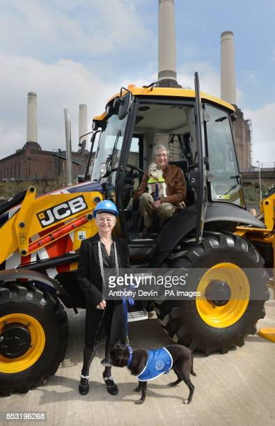 Dame Jacqueline Wilson and Paul O'Grady during the redevelopment launch as construction begins on new kennels at Battersea Dogs and Cats Home London