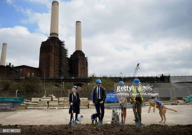 Dame Jacqueline Wilson David Gandy Amanda Holden and Paul O'Grady during the redevelopment launch as construction begins on new kennels at Battersea...