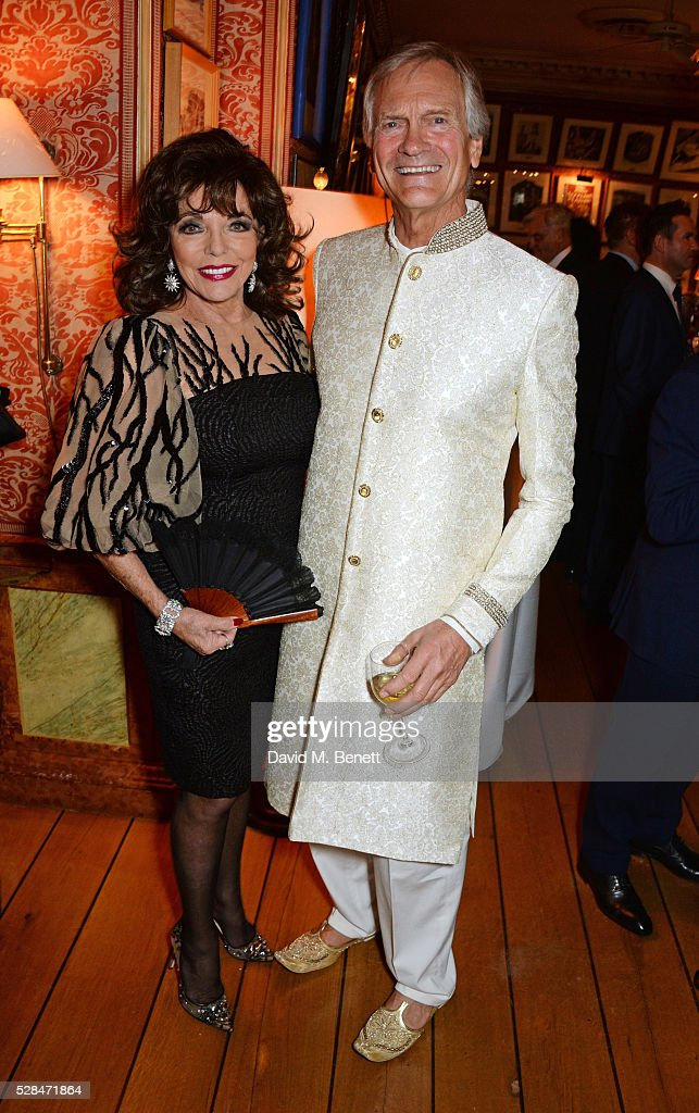 Dame Joan Collins (L) and Charles Delevingne attend the launch of Dame Joan Collins' new book 'The St. Tropez Lonely Hearts Club' at Harry's Bar on May 5, 2016 in London, England.