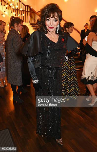 Dame Joan Collins attends a cocktail reception at The 62nd London Evening Standard Theatre Awards recognising excellence from across the world of...
