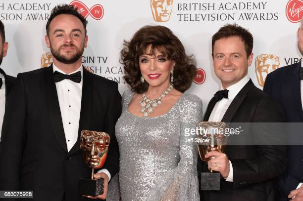 Dame Joan Collins poses with Anthony McPartlin and Declan Donnelly winners of the Entertainment Programme award for 'Ant and Dec's Saturday Night...
