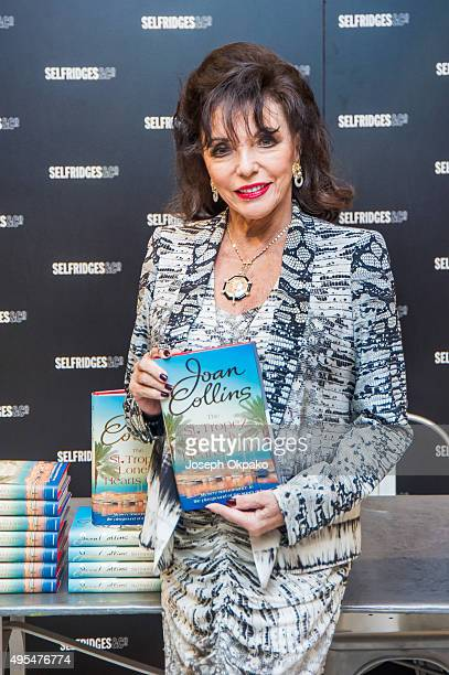 Dame Joan Collins signs copies of her new book 'The St Tropez Lonely Hearts Club' at Selfridges on November 3 2015 in London England