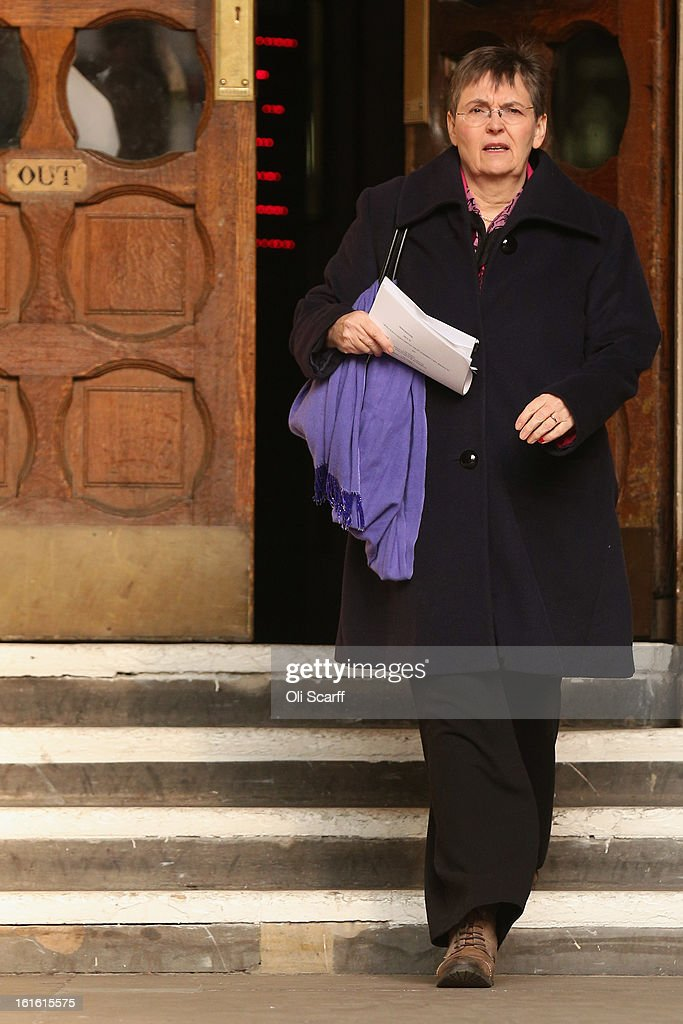 Dame Joan McVittie, the former President of the Association Of School and College Leaders, leaves the Royal Courts of Justice on February 13, 2013 in London, England. The High Court has rejected a legal bid from school leaders, teachers' unions and councils to reassign grade boundaries for GCSE English exams sat in summer 2012.