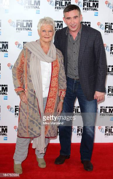 Dame Judi Dench and Steve Coogan attend the photocall for 'Philomena' during the 57th BFI London Film Festival at on October 16 2013 in London England