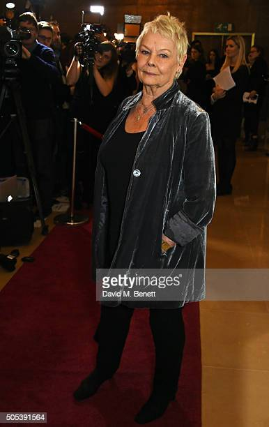 Dame Judi Dench arrives at The London Critics' Circle Film Awards at The May Fair Hotel on January 17 2016 in London England