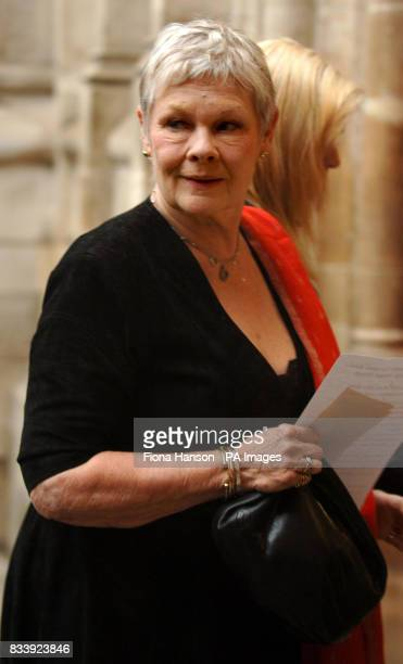 Dame Judi Dench arrives at Westminster Abbey London for a service of celebration to mark the diamond wedding anniversary of Queen Elizabeth II and...