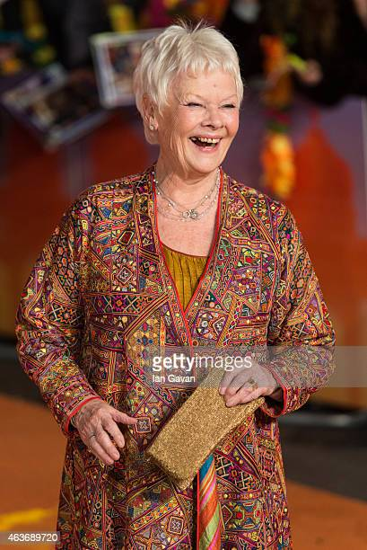 Dame Judi Dench attends The Royal Film Performance and World Premiere of 'The Second Best Exotic Marigold Hotel' at Odeon Leicester Square on...