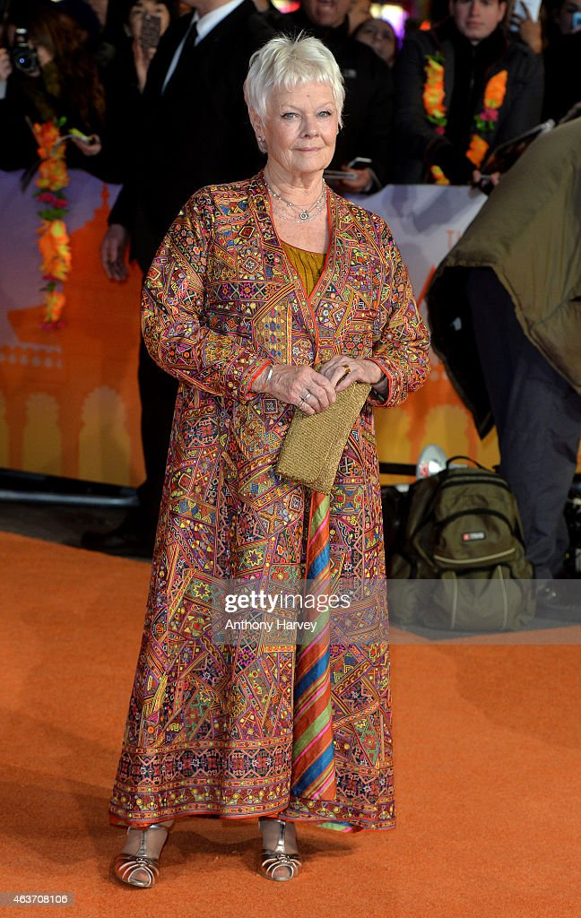 Dame Judi Dench attends The Royal Film Performance and World Premiere of 'The Second Best Exotic Marigold Hotel' at Odeon Leicester Square on February 17, 2015 in London, England.