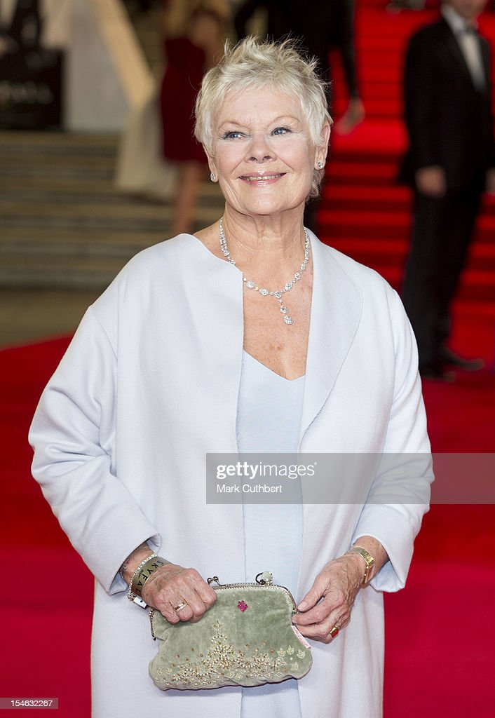Dame <a gi-track='captionPersonalityLinkClicked' href=/galleries/search?phrase=Judi+Dench&family=editorial&specificpeople=159424 ng-click='$event.stopPropagation()'>Judi Dench</a> attends the Royal World Premiere of 'Skyfall' at Royal Albert Hall on October 23, 2012 in London, England.