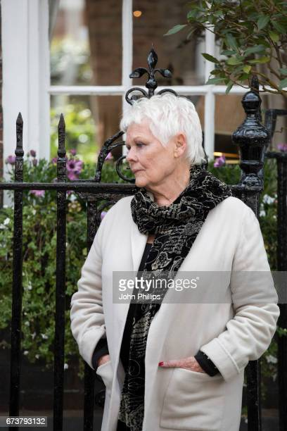 Dame Judi Dench during the unveiling of a new plaque commemorating her friend and fellow actor Sir John Gielgud on Cowley Street in Westminster on...