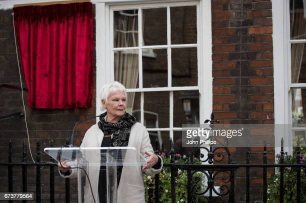 Dame Judi Dench unveils a new plaque commemorating her friend and fellow actor Sir John Gielgud on Cowley Street in Westminster on April 27 2017 in...
