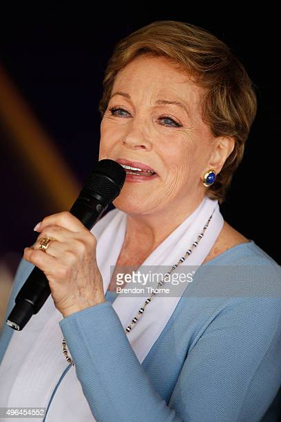 Dame Julie Andrews attends a media conference at Sydney Opera House on November 10 2015 in Sydney Australia