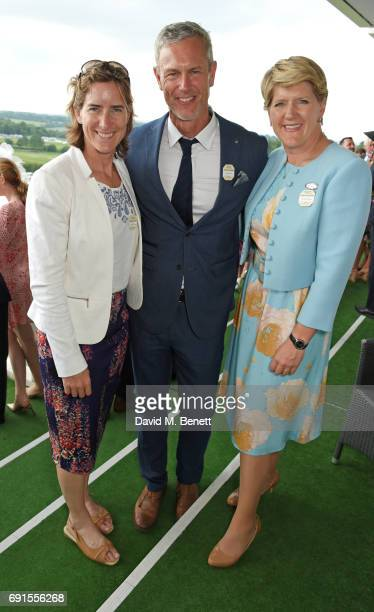 Dame Katherine Grainger Mark Foster and Clare Balding attend Ladies Day of the 2017 Investec Derby Festival at The Jockey Club's Epsom Downs...