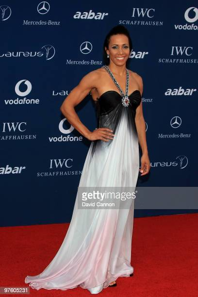 Dame Kelly Holmes arrives at the Laureus World Sports Awards 2010 at Emirates Palace Hotel on March 10 2010 in Abu Dhabi United Arab Emirates