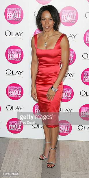 Dame Kelly Holmes during Cosmopolitan Fun Fearless Female Awards with Olay Red Carpet at Bloomsbury Ballroom in London Great Britain