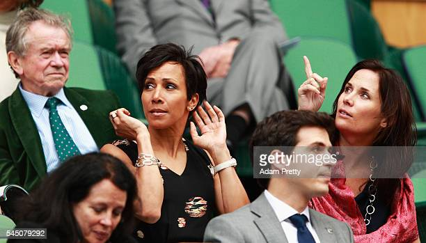 Dame Kelly Holmes looks on from The Royal Box on day eight of the Wimbledon Lawn Tennis Championships at the All England Lawn Tennis and Croquet Club...