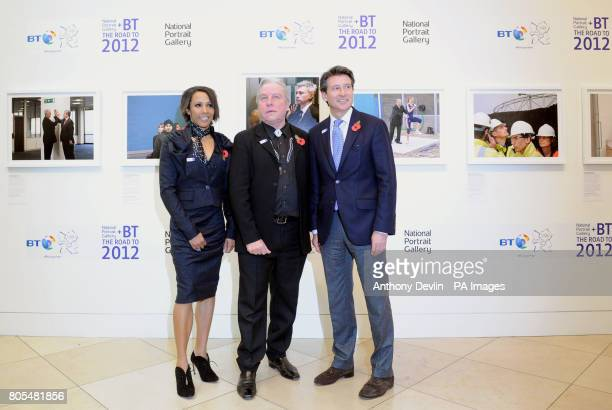 Dame Kelly Holmes poses with photographer Brian Griffin and Lord Coe during the launch during the launch of the National Portrait Gallery/BT Road to...