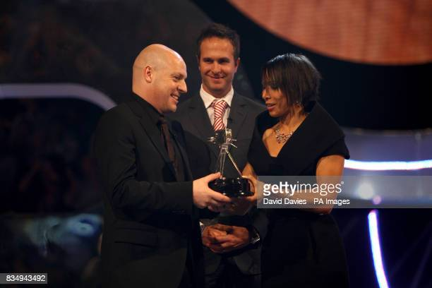 Dame Kelly Holmes presents the Coach Of The Year to Team GB cycling coach David Brailsford during the BBC Sport Personality of the Year Awards at the...