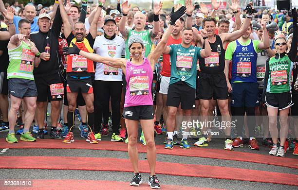 Dame Kelly Holmes starts the Virgin London Marathon 2016 on April 24 2016 in London England