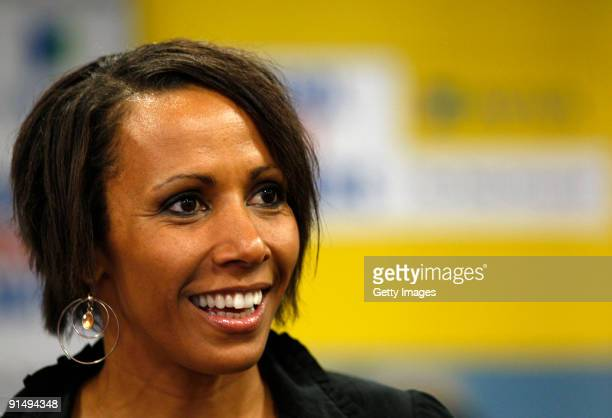 Dame Kelly Holmes talks to the press whilst attending the Aviva Daily Telegraph School Sport Matters Awards at Stamford Bridge on 6 October 2009 in...
