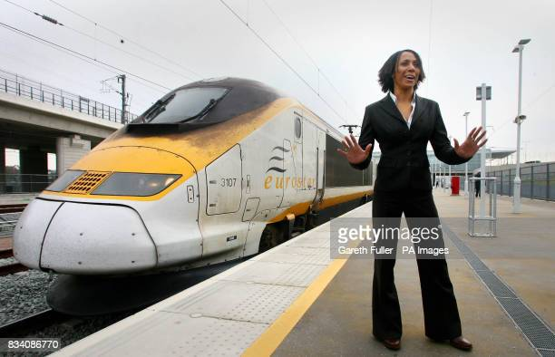 Dame Kelly Holmes with a Eurostar train after officially opening Ebbsfleet International station at Ebbsfleet Kent