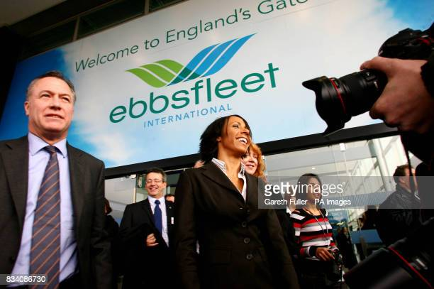 Dame Kelly Holmes with Eurostar financial director Ian Nunn after officially opening Ebbsfleet International station at Ebbsfleet Kent
