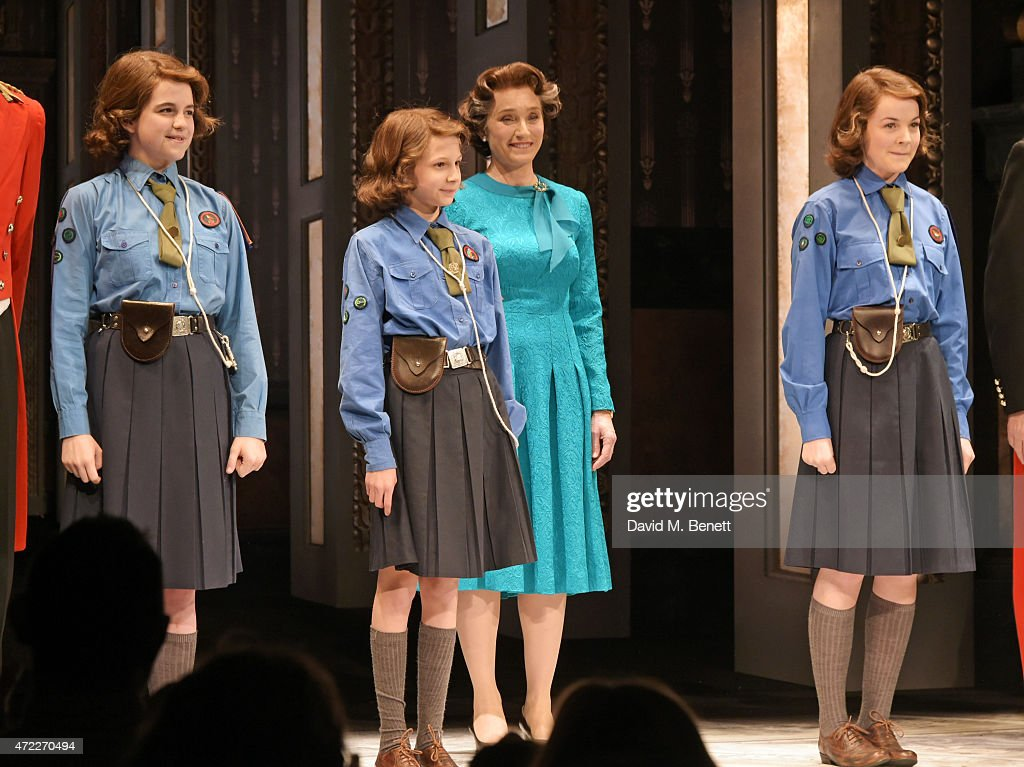 Dame Kristin Scott Thomas (2R) and Young Elizabeth's Madeleine Jackson Smith, Marine Brighton and Izzy Meikle-Small bow at the curtain call during the press night performance of 'The Audience' at The Apollo Theatre on May 5, 2015 in London, England.