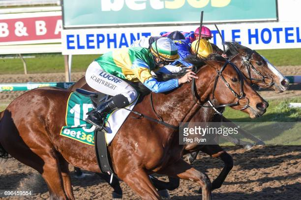 Dame Largo ridden by Georgina Cartwright wins the IGA Liquor FM BM64 Handicap at Geelong Synthetic Racecourse on June 16 2017 in Geelong Australia