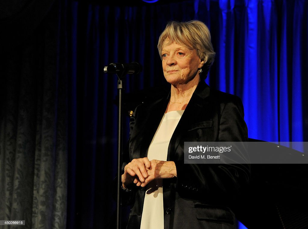 Dame <a gi-track='captionPersonalityLinkClicked' href=/galleries/search?phrase=Maggie+Smith&family=editorial&specificpeople=206821 ng-click='$event.stopPropagation()'>Maggie Smith</a> accepts The London Evening Standard Theatre Icon Aawrd at the 59th London Evening Standard Theatre Awards at The Savoy Hotel on November 17, 2013 in London, England.