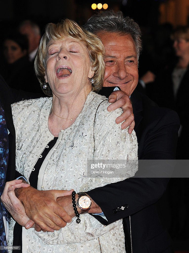 Dame Maggie Smith and Director Dustin Hoffman attend the premiere of 'Quartet' during the 56th BFI London Film Festival at Odeon Leicester Square on October 15, 2012 in London, England.