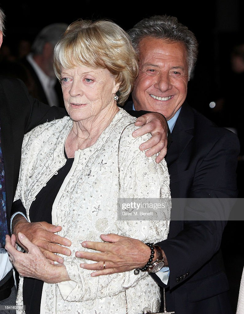 Dame <a gi-track='captionPersonalityLinkClicked' href=/galleries/search?phrase=Maggie+Smith&family=editorial&specificpeople=206821 ng-click='$event.stopPropagation()'>Maggie Smith</a> (L) and director <a gi-track='captionPersonalityLinkClicked' href=/galleries/search?phrase=Dustin+Hoffman&family=editorial&specificpeople=171356 ng-click='$event.stopPropagation()'>Dustin Hoffman</a> attend the Premiere of 'Quartet' during the 56th BFI London Film Festival at Odeon Leicester Square on October 15, 2012 in London, England.