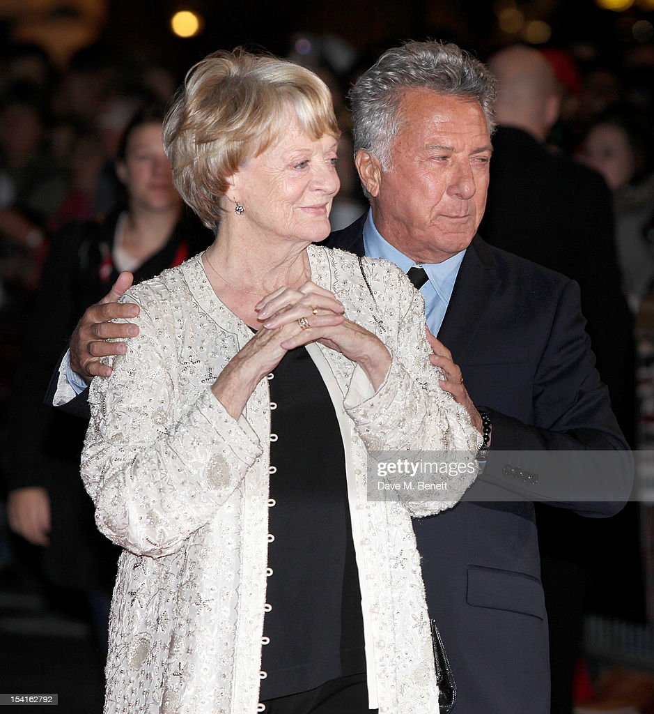 Dame Maggie Smith (L) and director Dustin Hoffman attend the Premiere of 'Quartet' during the 56th BFI London Film Festival at Odeon Leicester Square on October 15, 2012 in London, England.