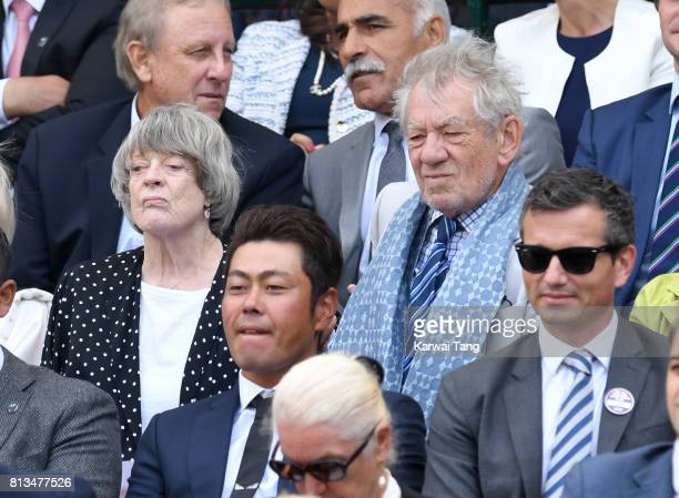 Dame Maggie Smith and Sir Ian McKellen attend day nine of the Wimbledon Tennis Championships at the All England Lawn Tennis and Croquet Club on July...