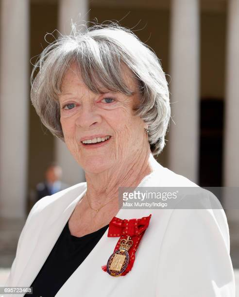Dame Maggie Smith arrives to attend Evensong at the Chapel Royal Hampton Court Palace to celebrate the Centenary of the founding of the Companions of...