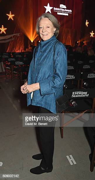 Dame Maggie Smith attends a champagne reception at the London Evening Standard British Film Awards at Television Centre on February 7 2016 in London...