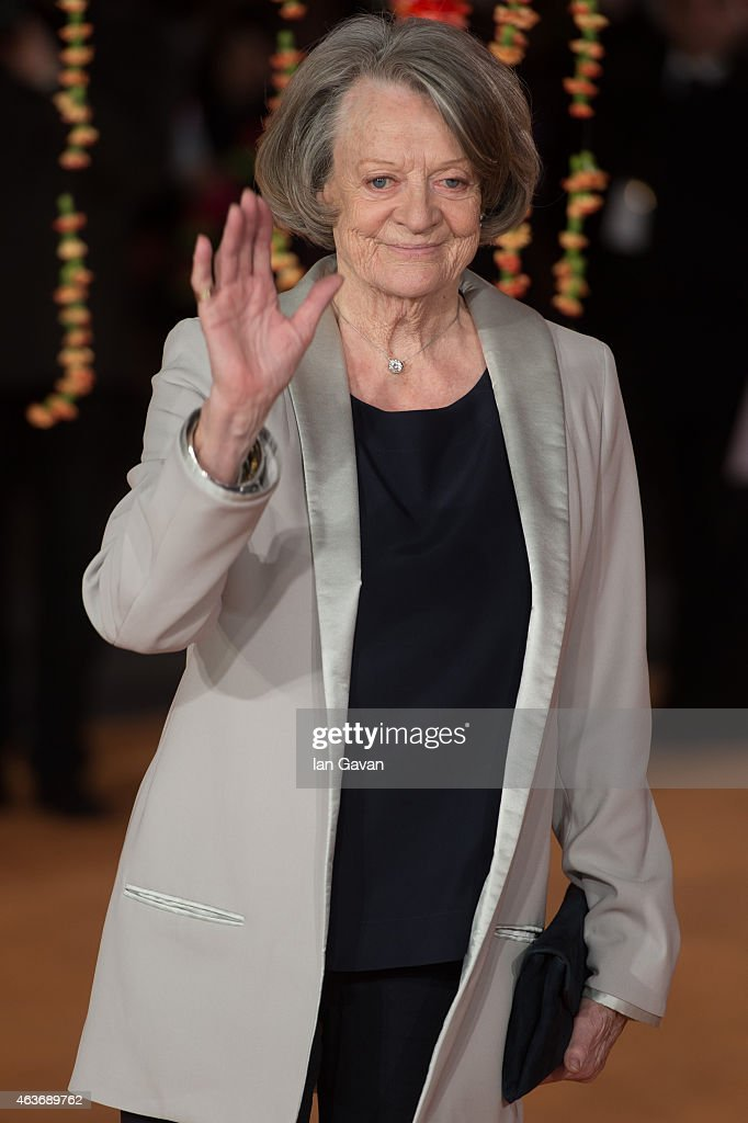 Dame <a gi-track='captionPersonalityLinkClicked' href=/galleries/search?phrase=Maggie+Smith&family=editorial&specificpeople=206821 ng-click='$event.stopPropagation()'>Maggie Smith</a> attends The Royal Film Performance and World Premiere of 'The Second Best Exotic Marigold Hotel' at Odeon Leicester Square on February 17, 2015 in London, England.