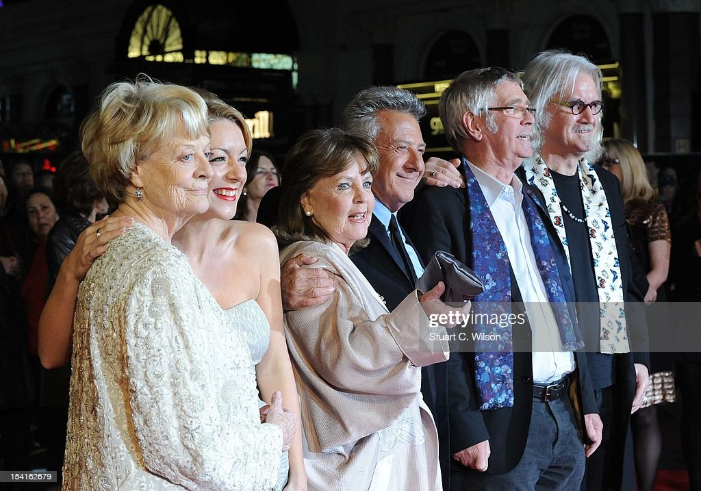 Dame <a gi-track='captionPersonalityLinkClicked' href=/galleries/search?phrase=Maggie+Smith&family=editorial&specificpeople=206821 ng-click='$event.stopPropagation()'>Maggie Smith</a>, <a gi-track='captionPersonalityLinkClicked' href=/galleries/search?phrase=Sheridan+Smith&family=editorial&specificpeople=4159304 ng-click='$event.stopPropagation()'>Sheridan Smith</a>, Pauline Collins, <a gi-track='captionPersonalityLinkClicked' href=/galleries/search?phrase=Dustin+Hoffman&family=editorial&specificpeople=171356 ng-click='$event.stopPropagation()'>Dustin Hoffman</a>, <a gi-track='captionPersonalityLinkClicked' href=/galleries/search?phrase=Tom+Courtenay&family=editorial&specificpeople=699230 ng-click='$event.stopPropagation()'>Tom Courtenay</a> and <a gi-track='captionPersonalityLinkClicked' href=/galleries/search?phrase=Billy+Connolly&family=editorial&specificpeople=208248 ng-click='$event.stopPropagation()'>Billy Connolly</a> attend the Premiere of 'Quartet' during the 56th BFI London Film Festival at Odeon Leicester Square on October 15, 2012 in London, England.