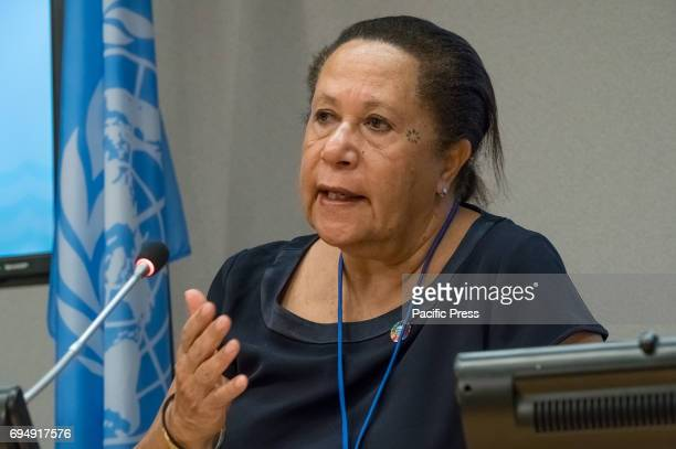 Dame Meg Taylor speaks with the press On the penultimate day of the weeklong United Nations highlevel 'Ocean Conference' at UN Headquarters in New...